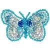 Motif Sequin/beads Butterflies Light Blue 2-tone
